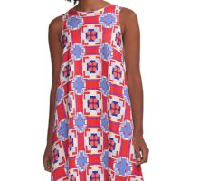 Red White Blue Patriotic A-Line Dress