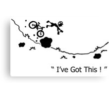 "Cycling Crash, Mountain Bike "" I've Got This ! "" Cartoon Canvas Print"