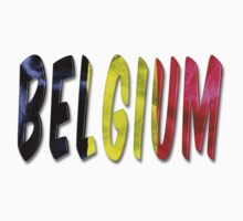 Belgium Word With Flag Texture One Piece - Long Sleeve