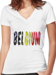 Belgium Word With Flag Texture Women's Fitted V-Neck T-Shirt