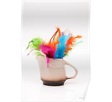 mug with colorful feathers Poster