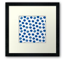 Pattern with blue polka dots Framed Print