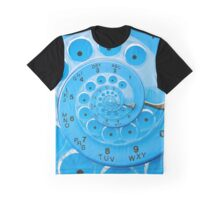 Vintage  Retro Blue Rotary Dial Spiral Droste Graphic T-Shirt