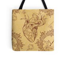 Pattern of heart, clockwork and key in steampunk style Tote Bag