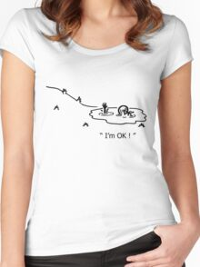 """I'm OK!"" Cycling Crash Cartoon Women's Fitted Scoop T-Shirt"