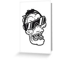 gesicht kopf rocker hard rock heavy metal musik party feiern band konzert festival sonnenbrille böse ekelig monster horror halloween zombie  Greeting Card