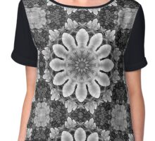 Flower Mandala, Blossoms black, white, gray Chiffon Top