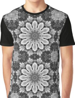 Blossoms black, white, gray (Flower Mandala) Graphic T-Shirt