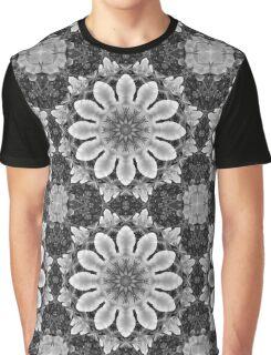 Blossoms black, white, gray (Flower Mandala) Graphic T-Shirt