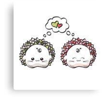 kawaii cute love hedgehog on a white background Canvas Print