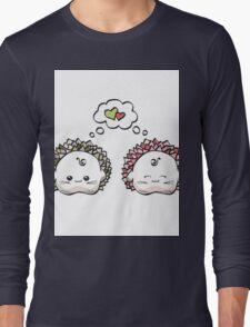 kawaii cute love hedgehog on a white background Long Sleeve T-Shirt