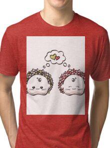 kawaii cute love hedgehog on a white background Tri-blend T-Shirt