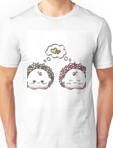 kawaii cute love hedgehog on a white background Unisex T-Shirt