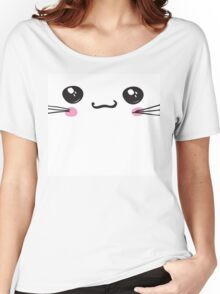 kawaii icon, cute attractive face, white background vector Women's Relaxed Fit T-Shirt