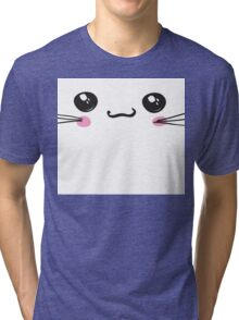 kawaii icon, cute attractive face, white background vector Tri-blend T-Shirt