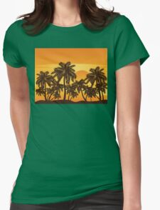 Palm Trees at Sunset Womens Fitted T-Shirt