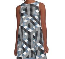 checkerboard cube tessellation A-Line Dress