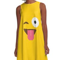 Emoji Tongue A-Line Dress