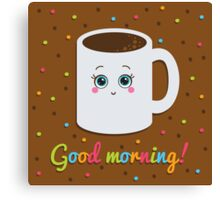Good morning illustration with coffee. Canvas Print
