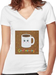 Good morning illustration with coffee. Women's Fitted V-Neck T-Shirt