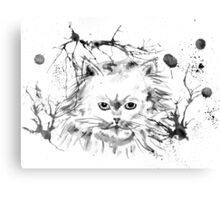 Persian Cat - Black and White Abstract Ink  Canvas Print