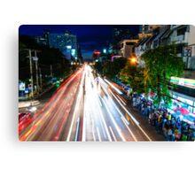 Night view over Bangkok city, Thailand Canvas Print