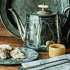 Still life with silver teapot by Sue Purveur