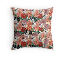 French BullBloom Throw Pillow