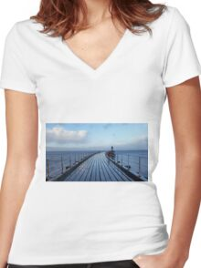 Whitby Pier Women's Fitted V-Neck T-Shirt
