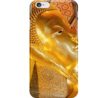 Reclining Buddha gold statue in Wat Pho buddhist temple iPhone Case/Skin