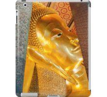 Reclining Buddha gold statue in Wat Pho buddhist temple iPad Case/Skin