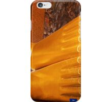 Feet detail of Reclining Buddha gold statue in Bangkok, Thailand iPhone Case/Skin