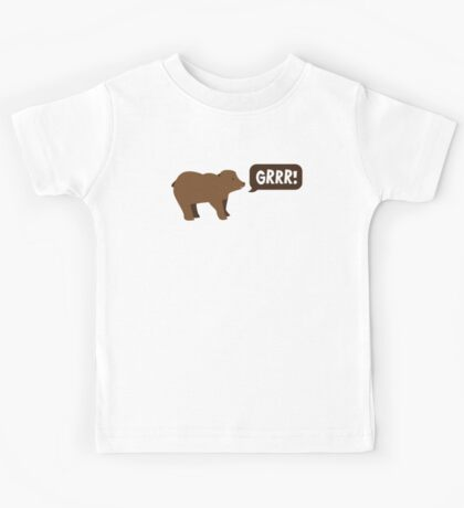 GRRR grizzly brown bear growling Kids Tee