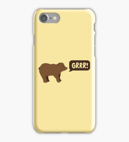 GRRR grizzly brown bear growling iPhone Case/Skin