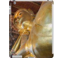 Face of Reclining Buddha gold statue in Wat Pho buddhist temple, Bangkok, Thailand iPad Case/Skin