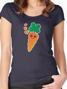 Cute kawaii orange carrot with cute hearts Women's Fitted Scoop T-Shirt