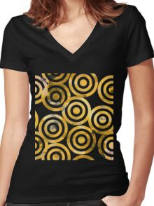 Hand drawn watercolor golden seamless pattern. Women's Fitted V-Neck T-Shirt