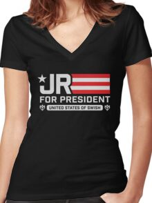 Jr Smith For President Women's Fitted V-Neck T-Shirt