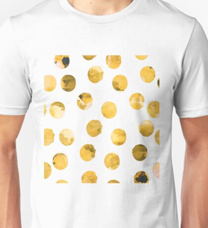 Hand drawn watercolor pattern  with watercolor golden spots. Unisex T-Shirt