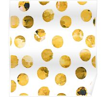 Hand drawn watercolor pattern  with watercolor golden spots. Poster
