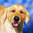 Samson - Golden Retriever dog art by Michelle Wrighton by Michelle Wrighton