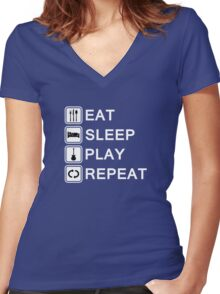 Guitar player loop (white) Women's Fitted V-Neck T-Shirt