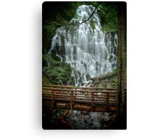The Rustic Bridge At Ramona Falls Canvas Print