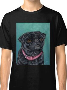 Pretty in Pink - Pug Dog oil painting by Michelle Wrighton Classic T-Shirt