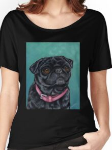 Pretty in Pink - Pug Dog oil painting by Michelle Wrighton Women's Relaxed Fit T-Shirt