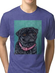Pretty in Pink - Pug Dog oil painting by Michelle Wrighton Tri-blend T-Shirt