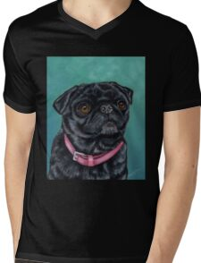 Pretty in Pink - Pug Dog oil painting by Michelle Wrighton Mens V-Neck T-Shirt