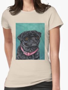 Pretty in Pink - Pug Dog oil painting by Michelle Wrighton Womens Fitted T-Shirt