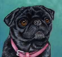 Pretty in Pink - Pug Dog oil painting by Michelle Wrighton by Michelle Wrighton