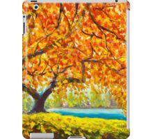 Big autumn tree near the river. Autumn landscape. iPad Case/Skin